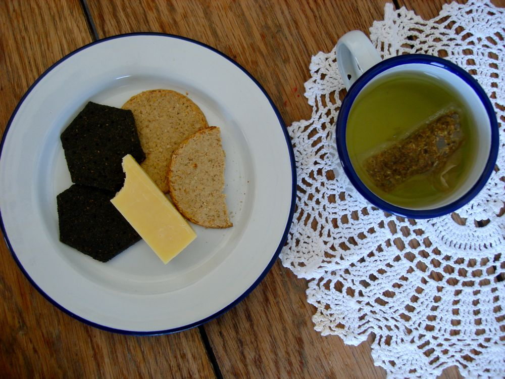 cheese and artisan crackers