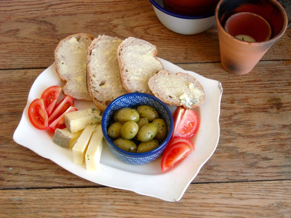 Bread, cheese, olives