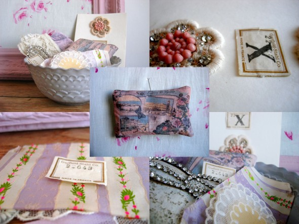 lavender bags and vintage lace