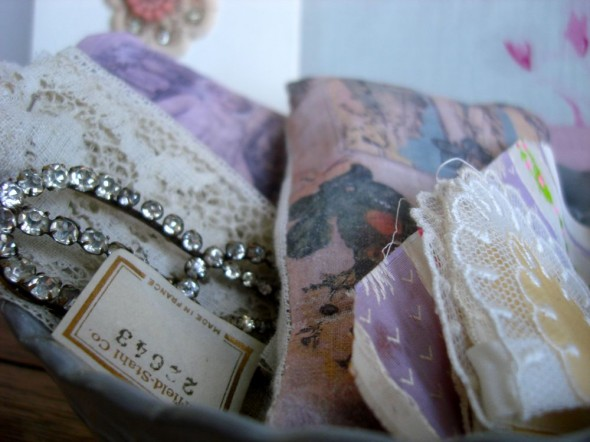 sesame and lilly lavender bags and vintage lace