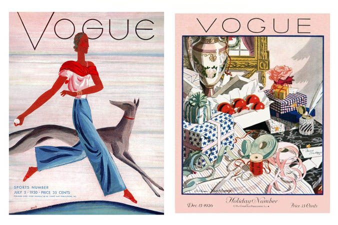 Vogue Eduardo Garcia Benito cover July 1930 and Allen Saalburg cover december 1926