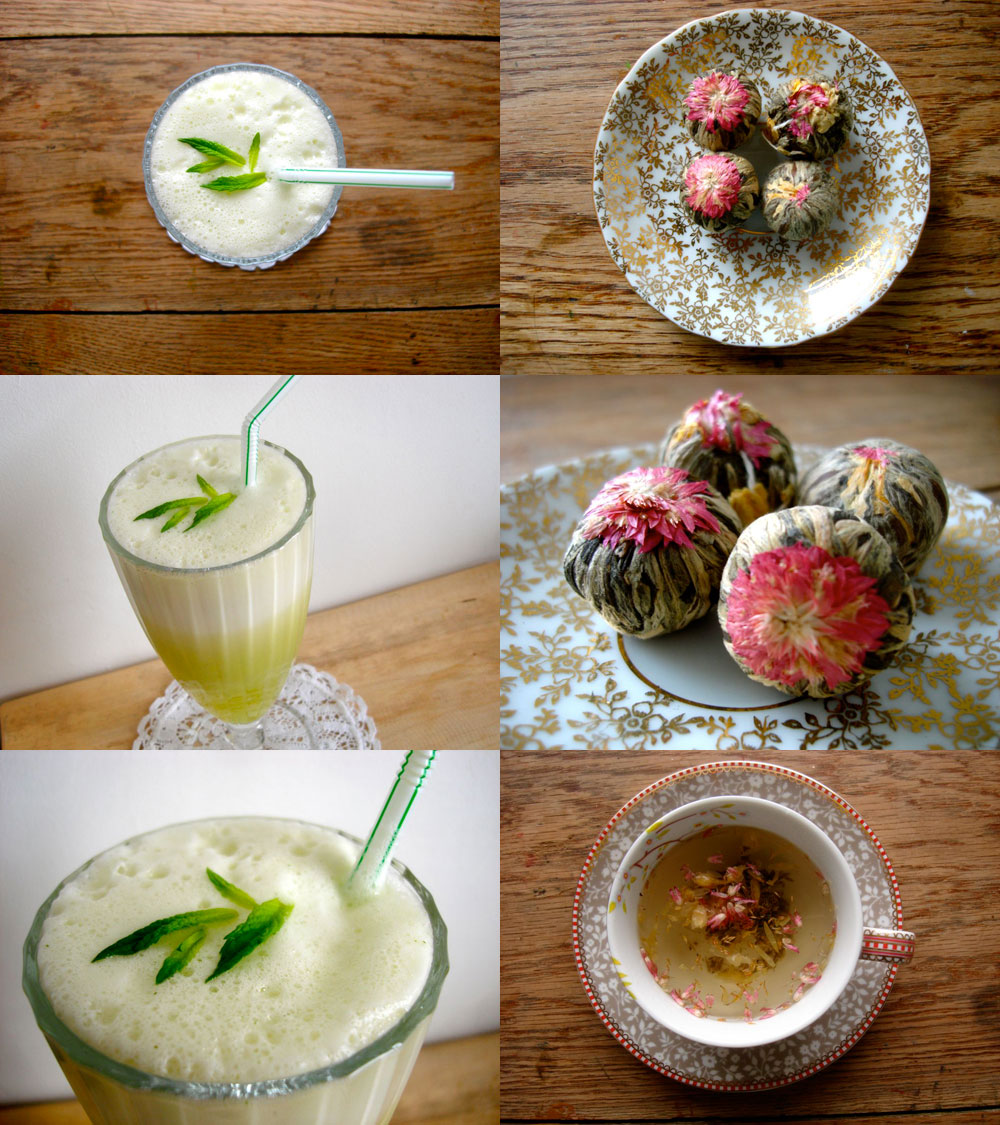 Iced pineapple and flowering teas.