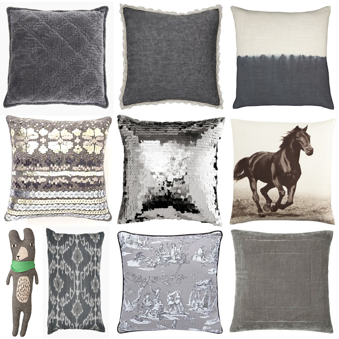 Grey and silver Cushions