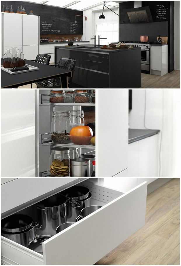 Linea Kitchen Super White and Raven Gloss