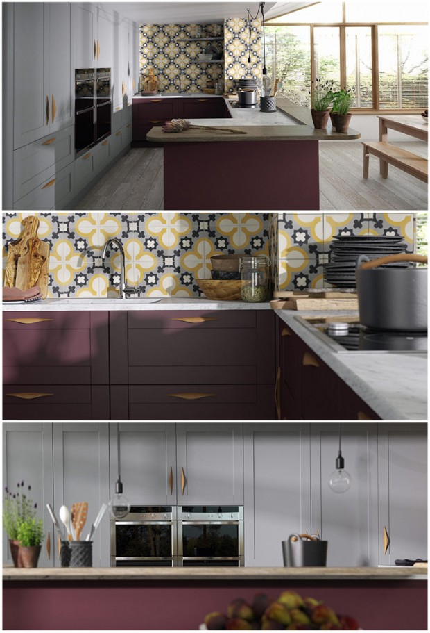 Wren Shaker Kitchen in Gullwing and Aubergine