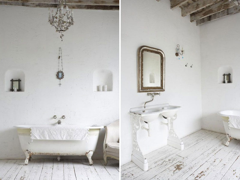 Beautiful white and rustic bathroom