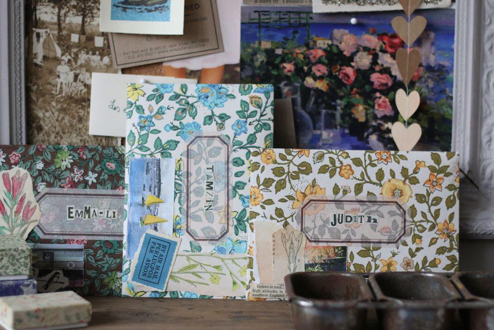 Handmade collaged envelopes