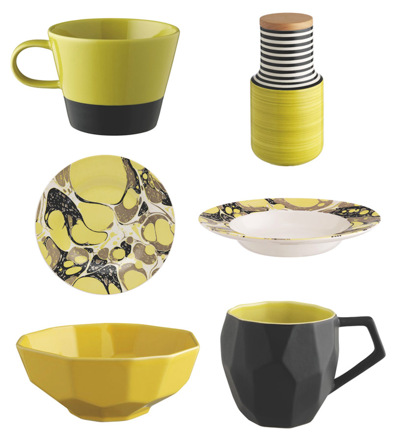 Citrus and ebony dining colours