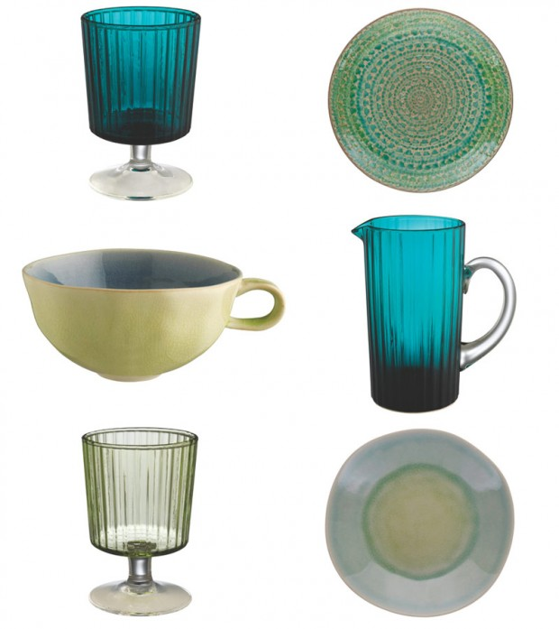 Glass and water coloured table ware
