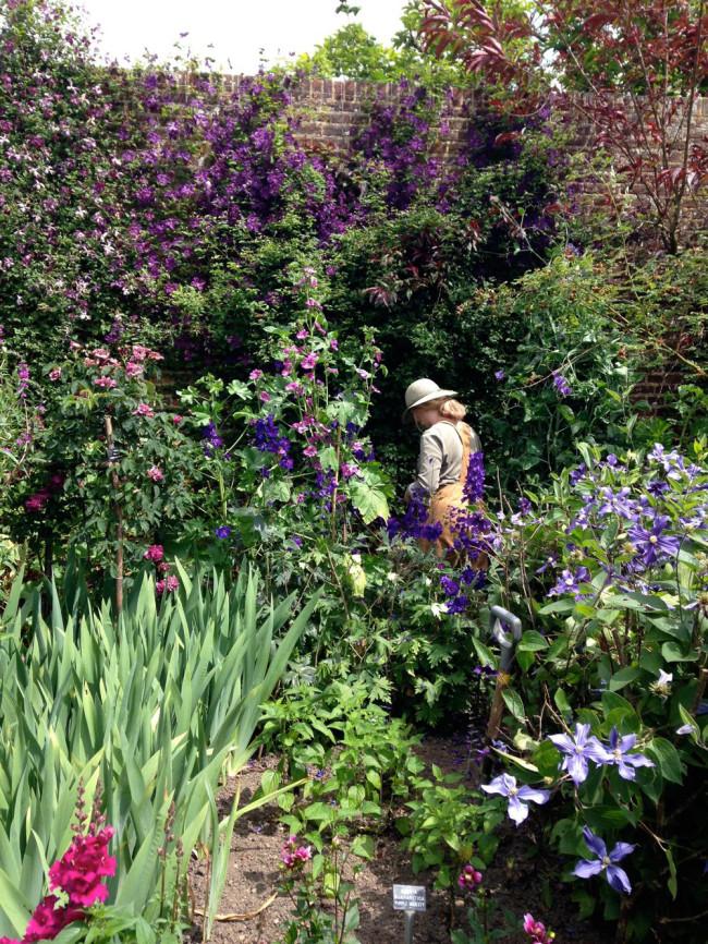 Sissinghurst gardener at work