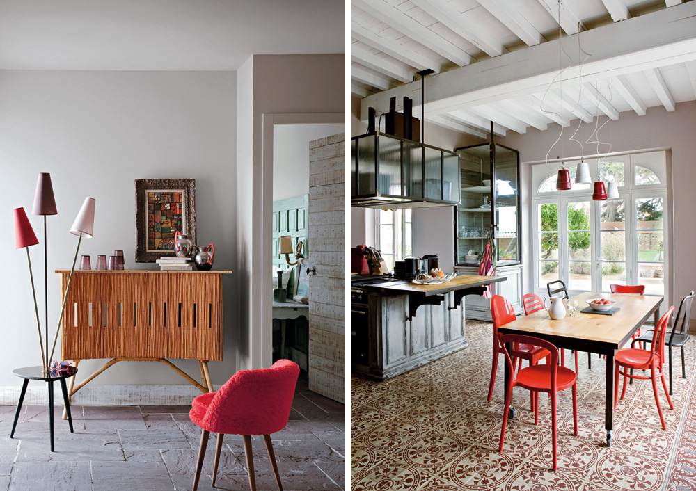 Red And White Interior Decor Modern Country