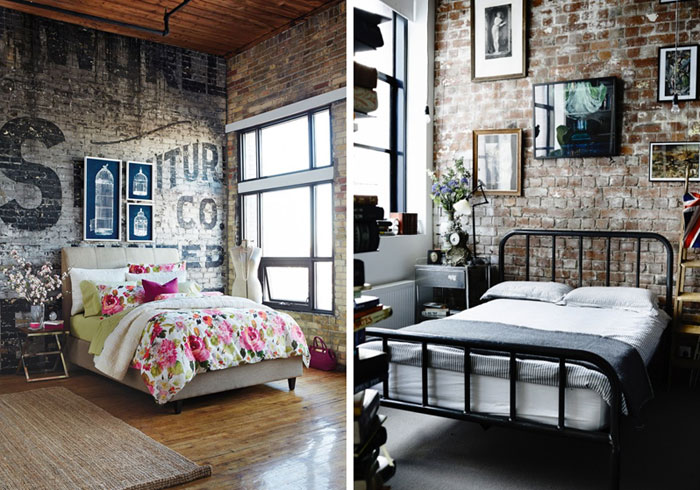 Soft industrial chic with brick effect wallpaper lobster for Brick wallpaper bedroom ideas