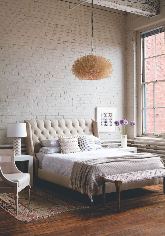 Soft industrial chic with brick effect wallpaper lobster for Exposed brick wall mural
