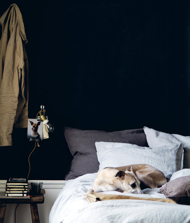 Moody bedroom styling