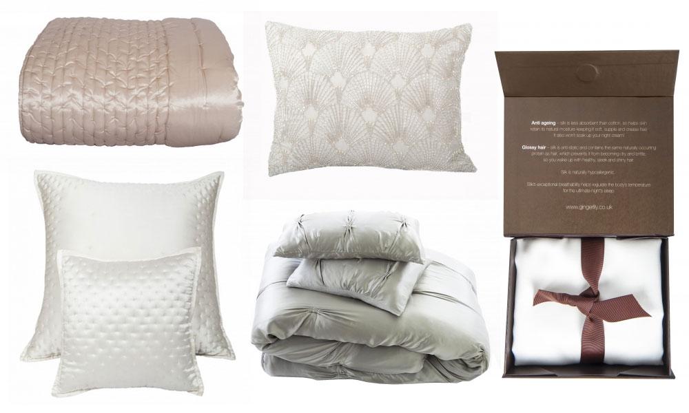 Silk cushions and throws