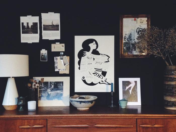 Black interior wall