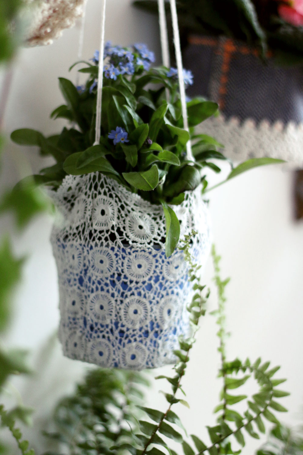 handmade lace hanging planters