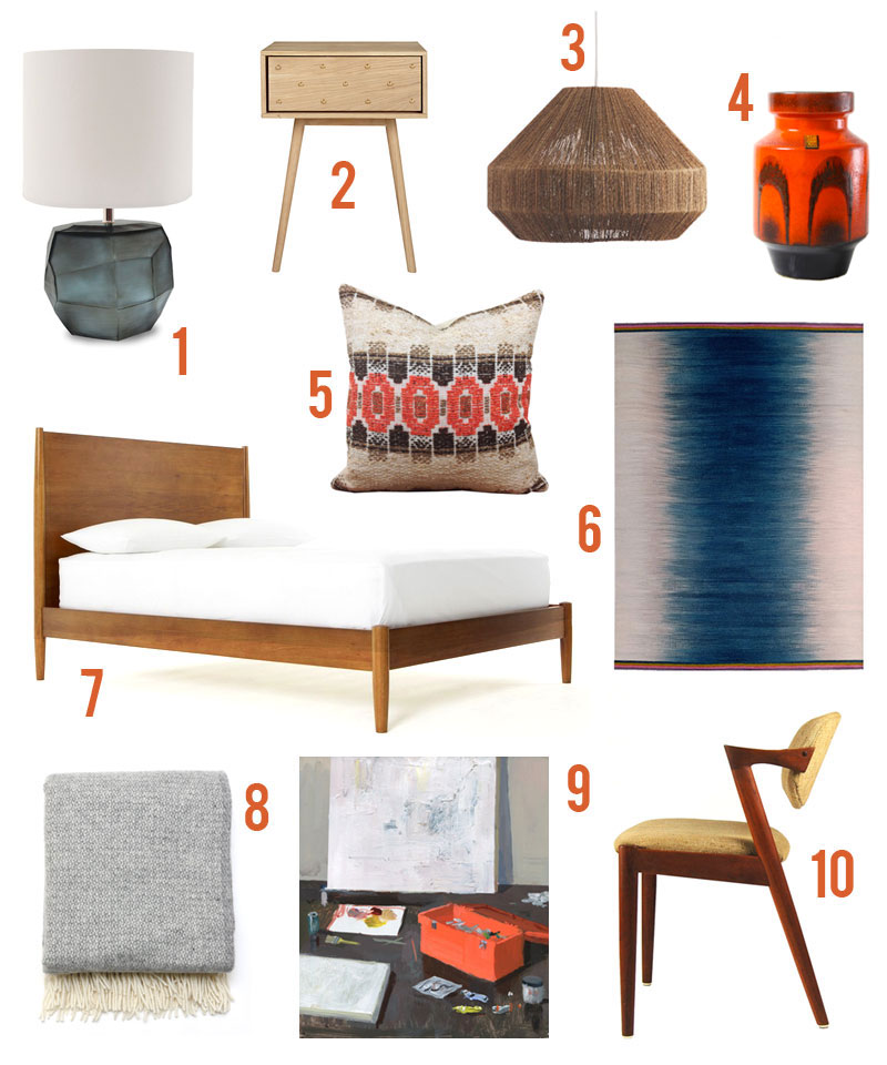 get the look - Mid century modern bedroom inspiration