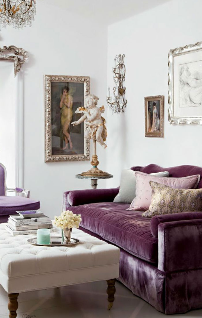 Astonishing Purple Velvet Sofa Lobster And Swan Pabps2019 Chair Design Images Pabps2019Com