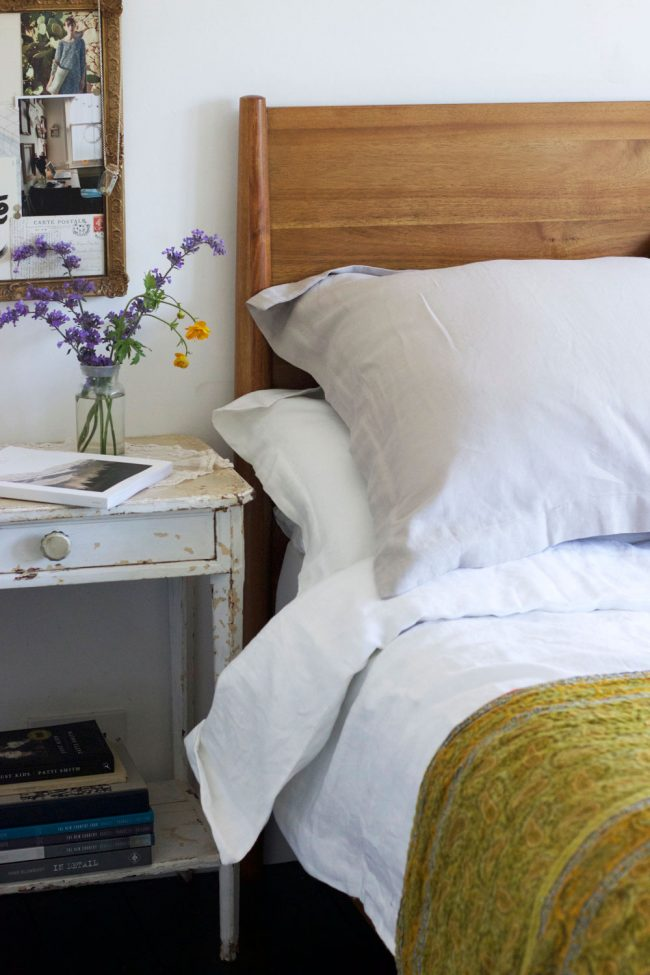 Bedroom styling with linen