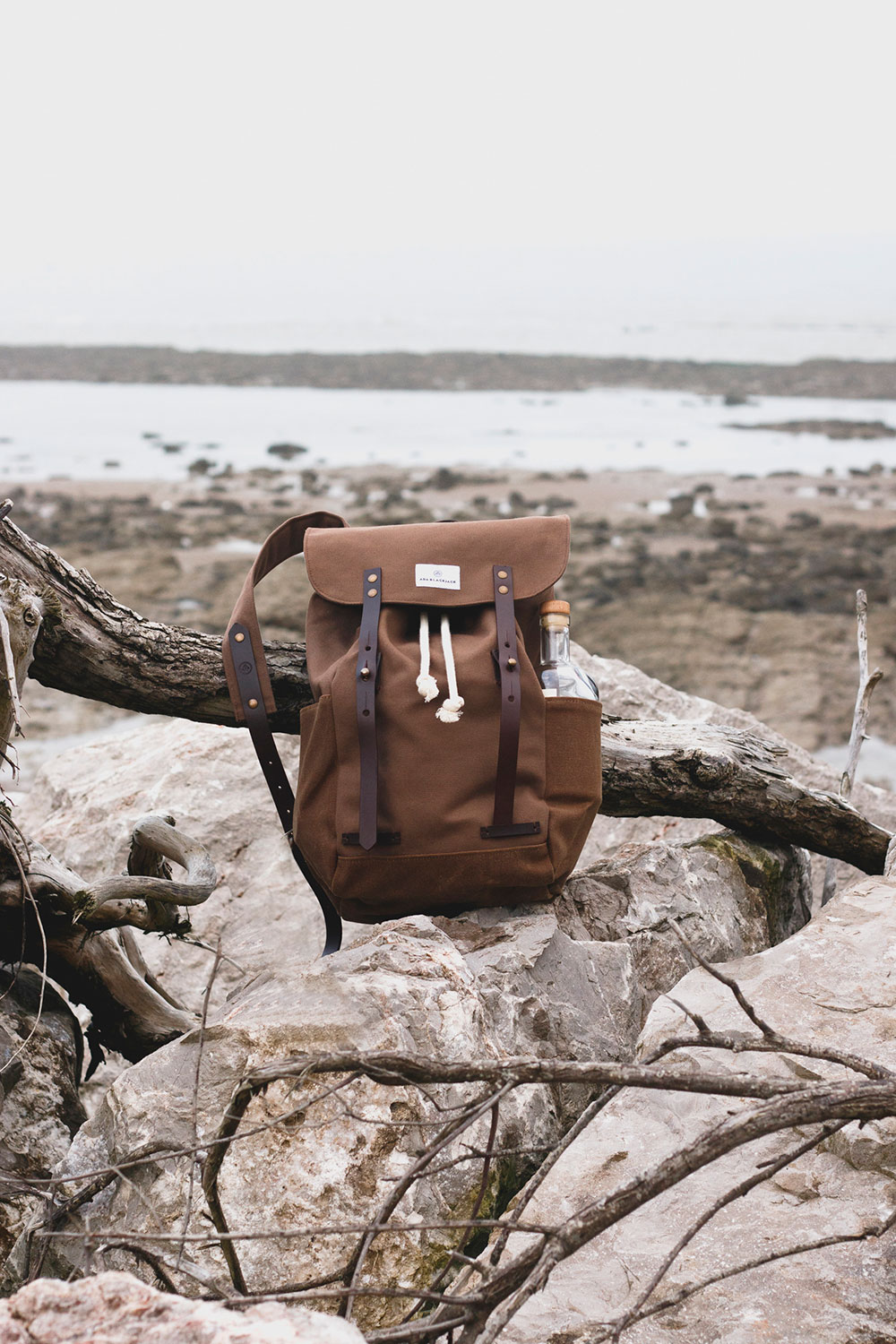 waxed canvas backpack in brown