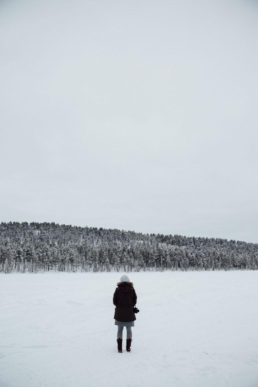 Frozen lake in jokkmokk swedish lapland