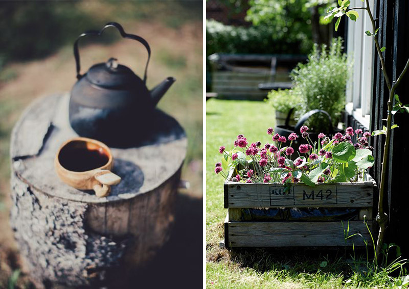 Cast iron tea pot and crate planters