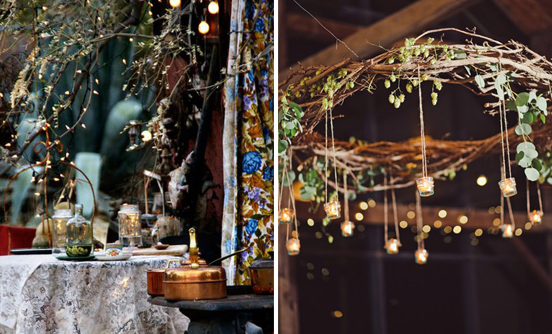 Branch chandelier and boho textiles