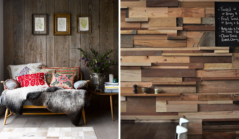 Reclaimed wood wall and retro furnishings