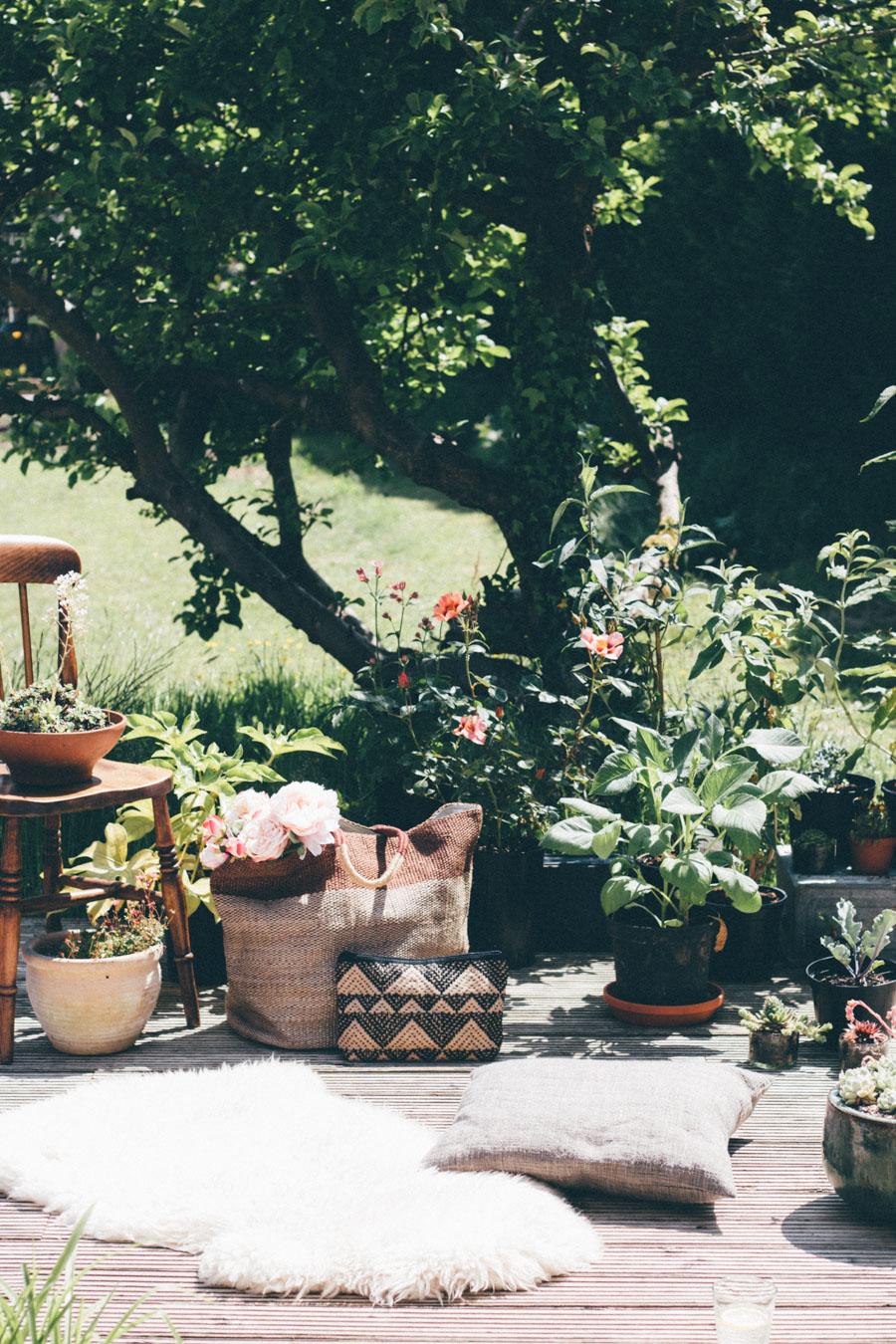 Flower filled decking area