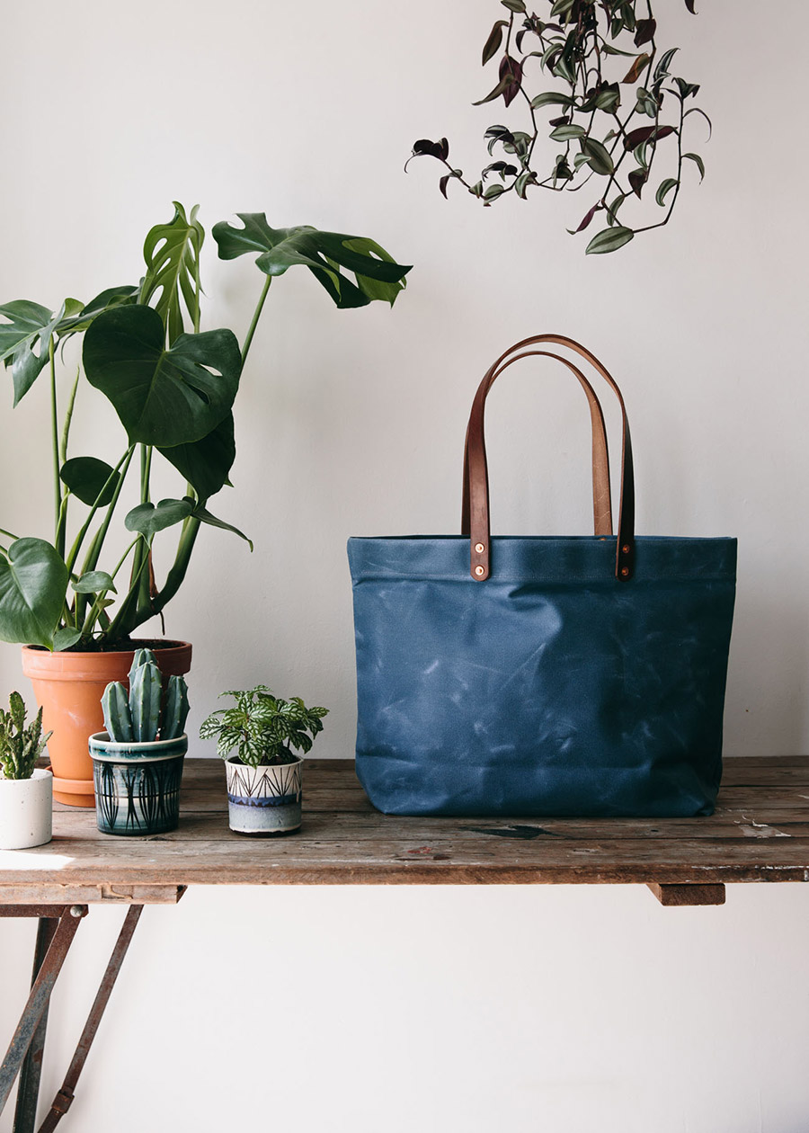 Hand made canvas tote made in the UK