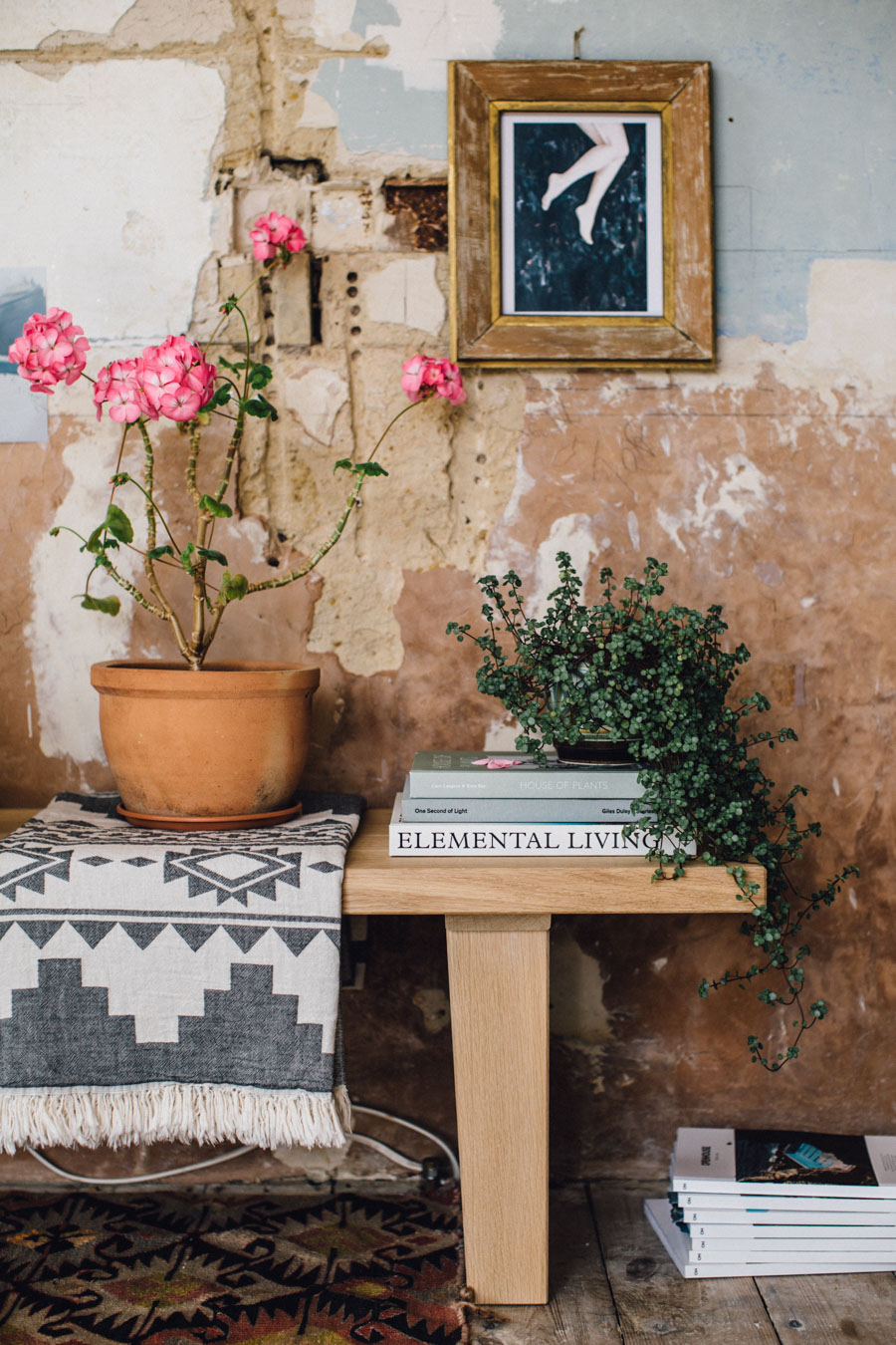 Eclectic bench styling