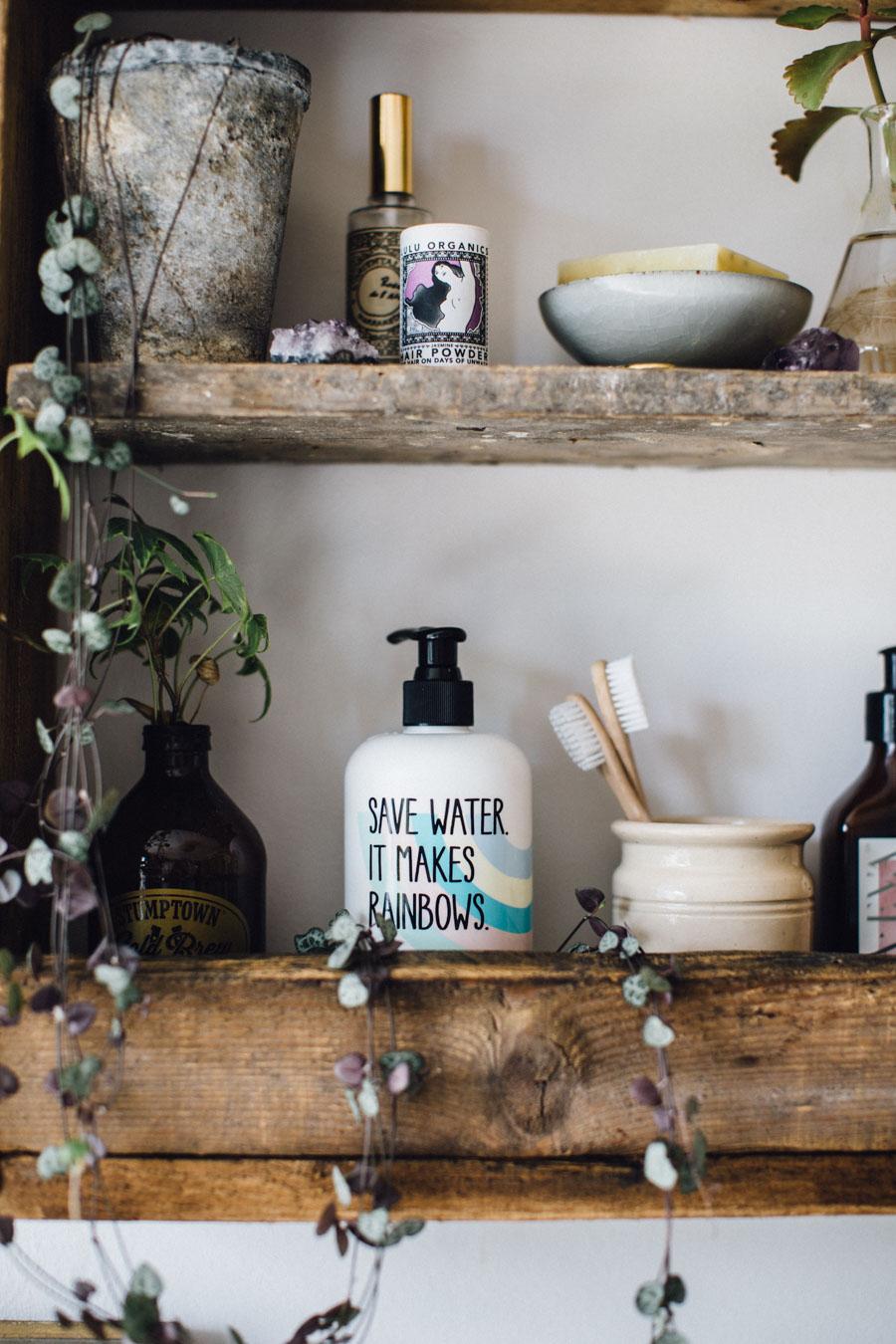 Handmade reclaimed wood bathroom shelf