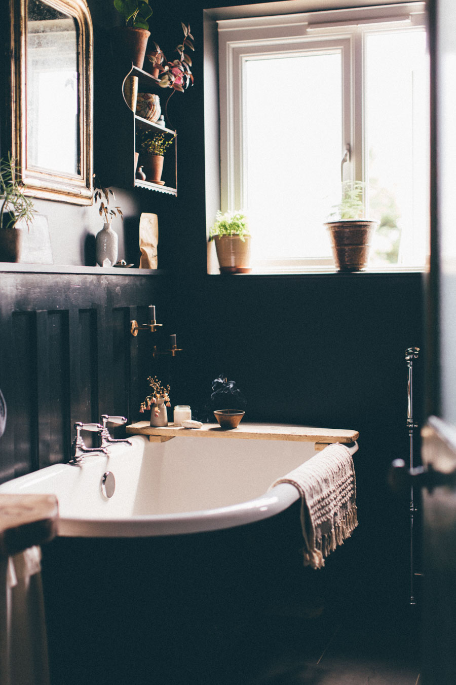 creating a moody and tranquil bathroom