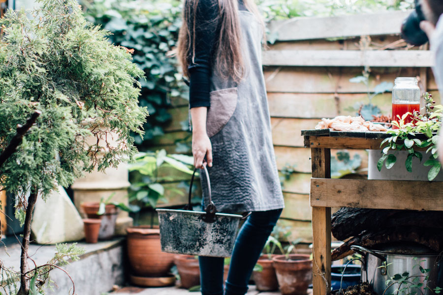 Hand dyed apron