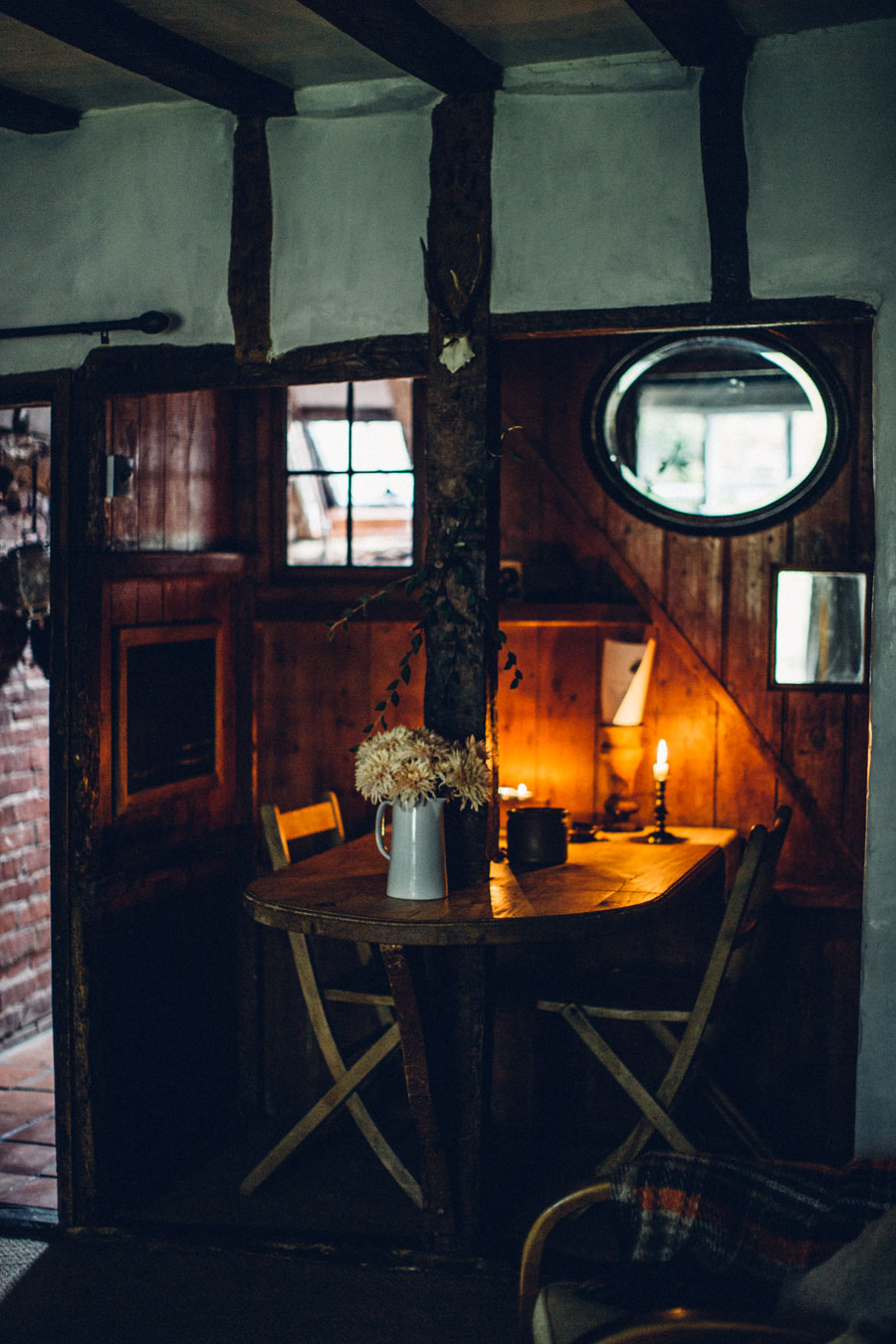 A cosy cabin style dining nook