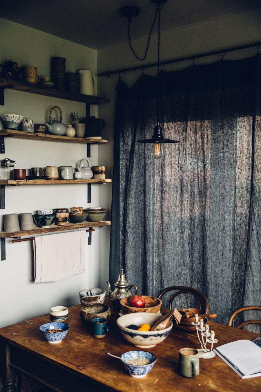 Dark linen curtains DIY