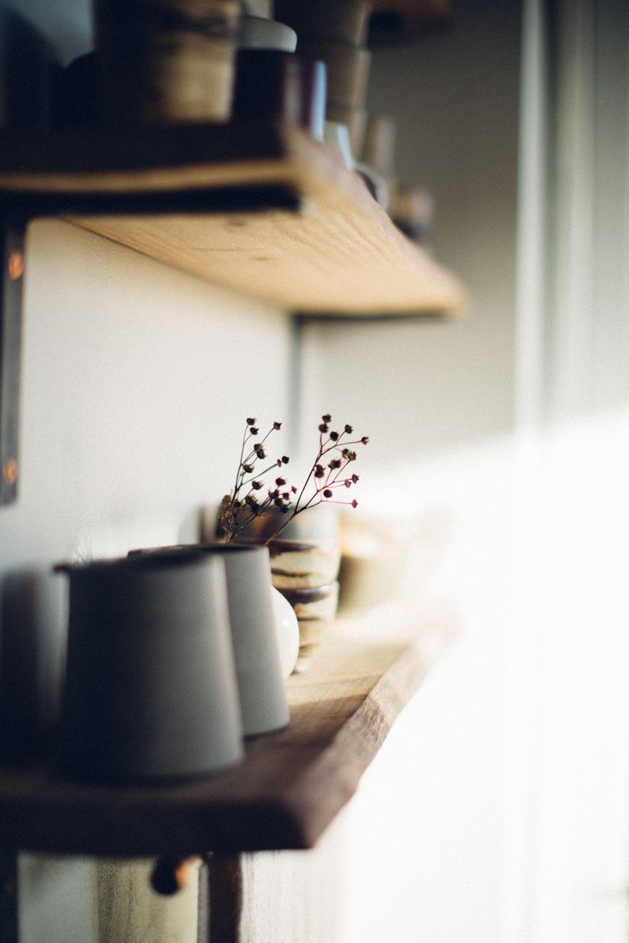 Handmade ceramics on display